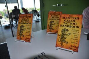Copies of The Scottish Gaelic Tattoo Handbook for sale at the launch
