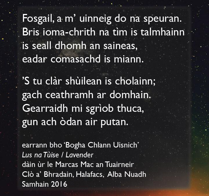 Bogha Chlann Uisnich / Milky Way – poem excerpt