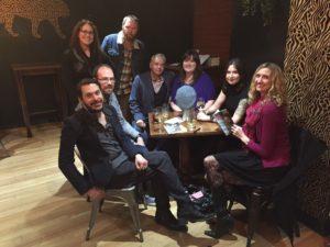 Celebrating the launch! L to R (front): Marcas Mac an Tuairneir, Iain S. Ross, Asif Khan, Fiona Ross, Cat Ross, Joy Dunlop. Back (L to R): Emily McEwan-Fujita, Àdhamh Ó Broin