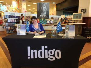 Terri M. Roberts signing Fionn MacCool and the Salmon of Knowledge at Chapters Dartmouth