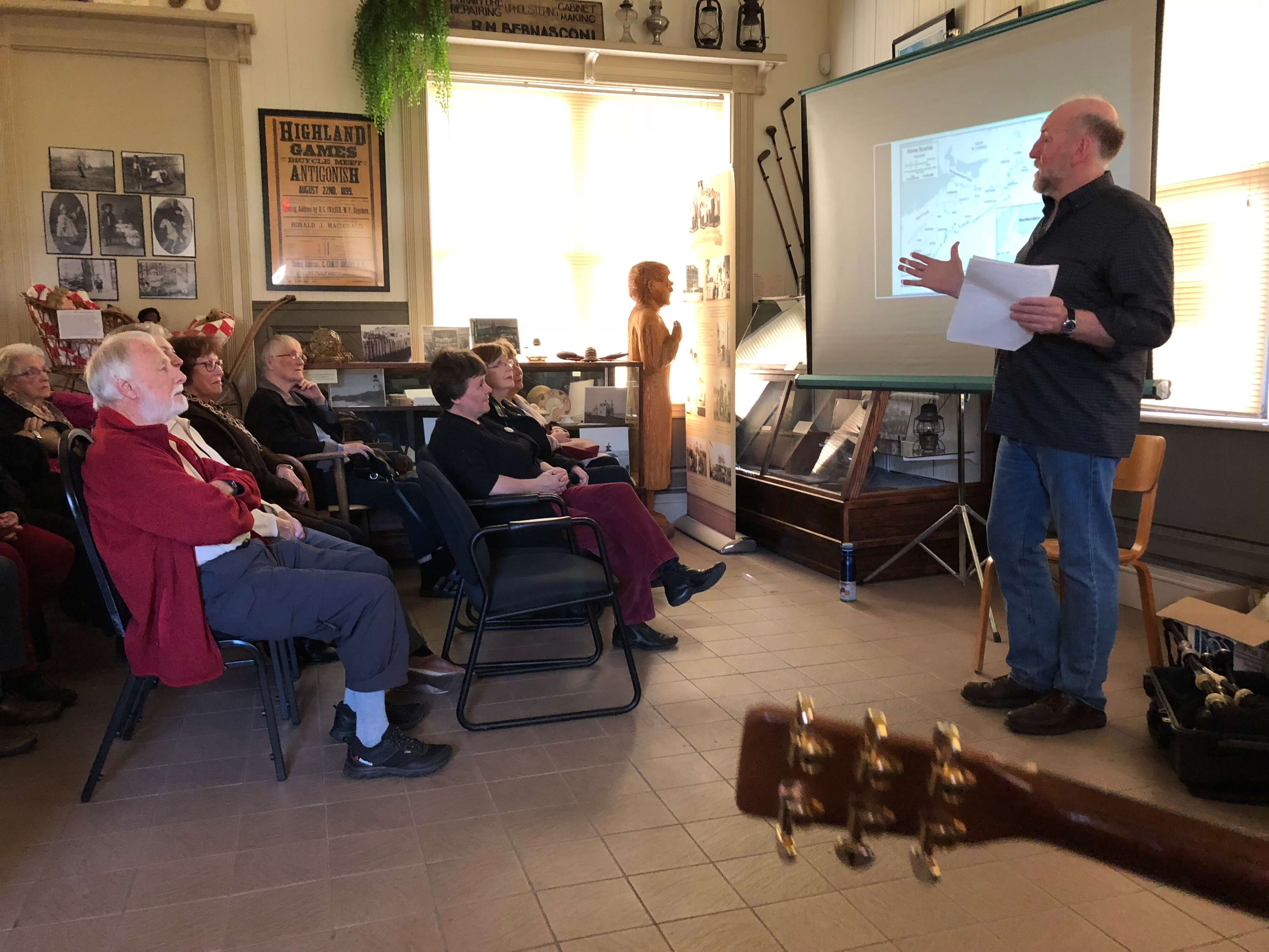 Barry W. Shears talking about pipers of Antigonish County at the Antigonish Heritage Museum