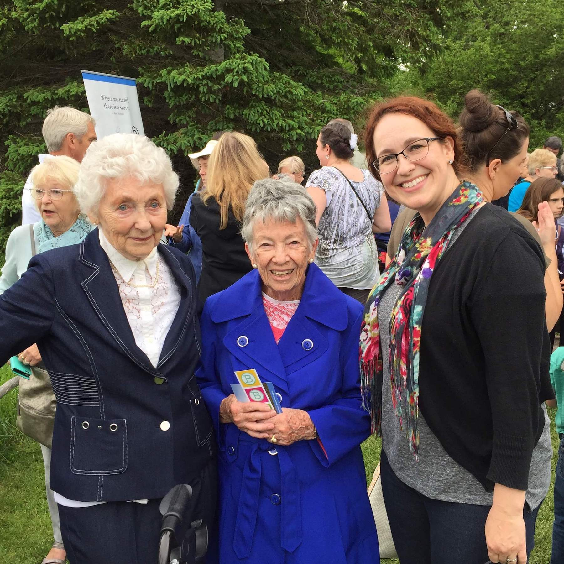 With Mrs. Jennie Macneill (left) and Dr. Elizabeth Waterston (centre) at the unveiling of the new @bookmarkcanada plaque for L.M. Montgomery at the Macneill Homestead in North Rustico, PEI.
