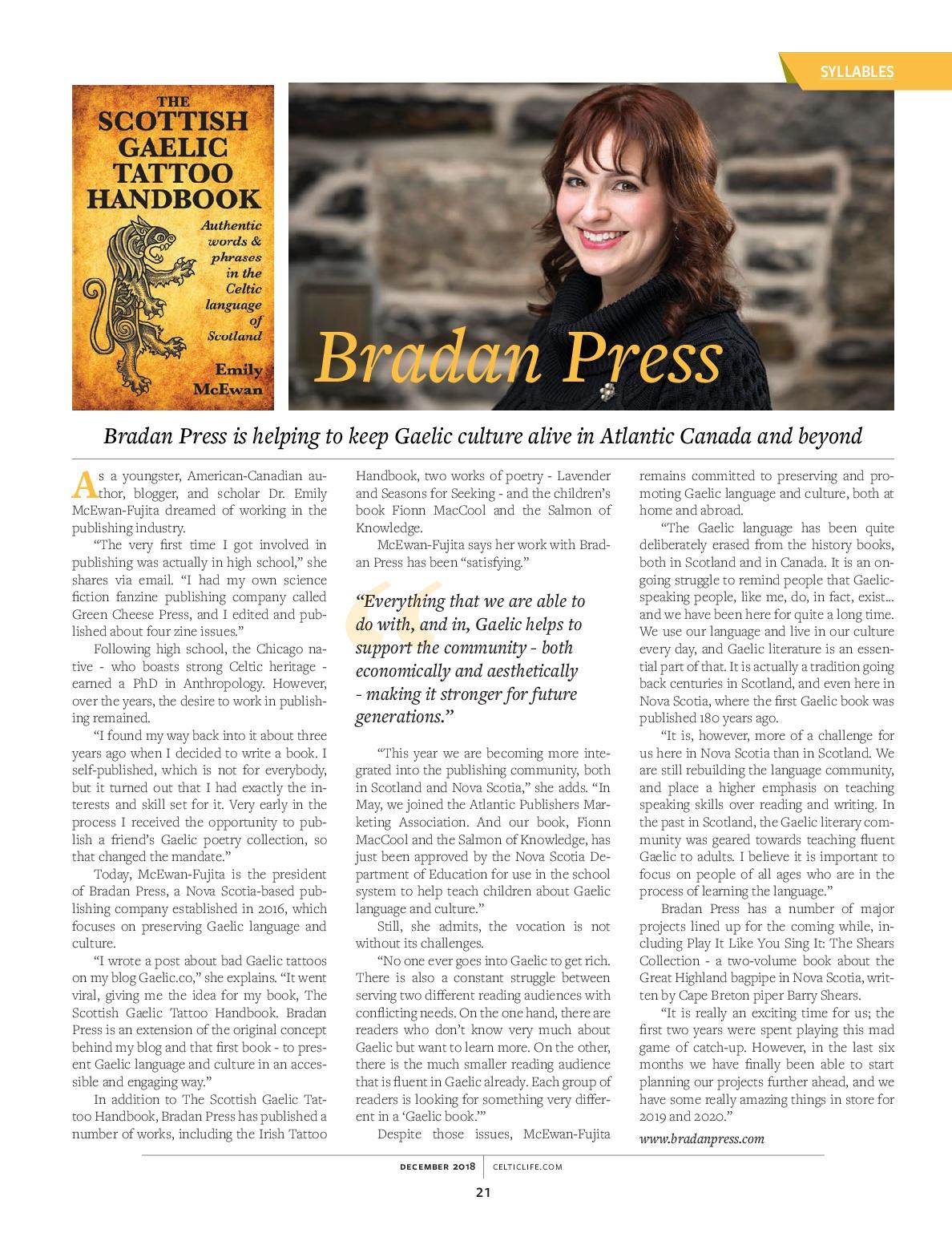 Celtic Life Bradan Press interview page21
