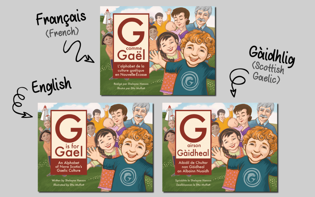 Comparison of G is for Gael in English, French, and Gaelic versions